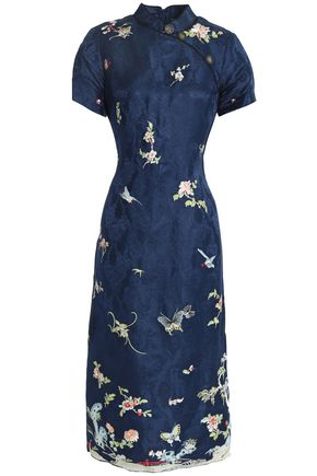 SEA Printed linen and silk-blend jacquard dress