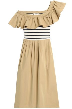 SEA One-shoulder striped knit-paneled ruffled cotton-poplin midi dress