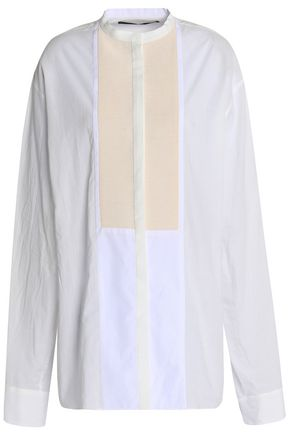 HAIDER ACKERMANN Satin-trimmed color-block cotton shirt