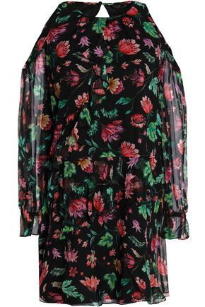 RACHEL ZOE Cold-shoulder floral-print silk-chiffon mini dress