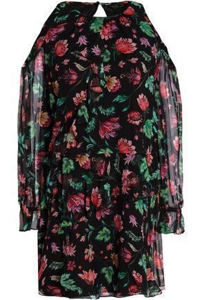 RACHEL ZOE Cold-shoulder floral-print silk-chiffon mini dress