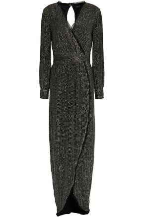 RACHEL ZOE Wrap-effect sequined silk gown