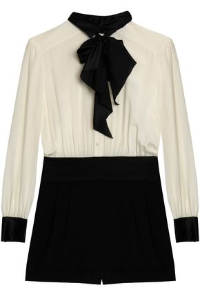 RACHEL ZOE Pussy-bow two-tone silk-crepe playsuit