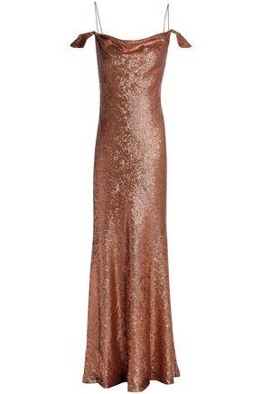RACHEL ZOE Cold-shoulder sequined crepe gown