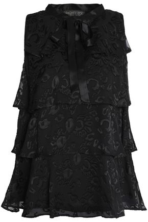 RACHEL ZOE Pussy-bow tiered fil-coupé blouse