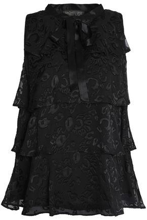 RACHEL ZOE Pussy-bow tiered fil-coupé blouse