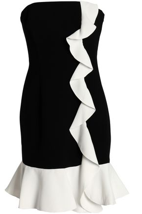 RACHEL ZOE Strapless ruffle-trimmed two-tone crepe mini dress