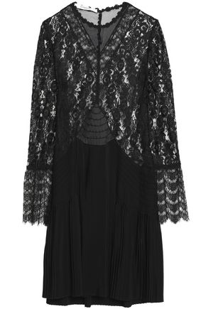 GIVENCHY Chantilly lace and pleated silk crepe de chine mini dress