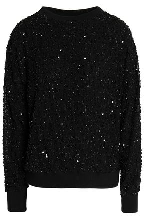 ALICE + OLIVIA JEANS Helen sequined stretch-knit sweatshirt