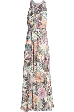 MATTHEW WILLIAMSON Embellished floral-print silk-chiffon halterneck gown