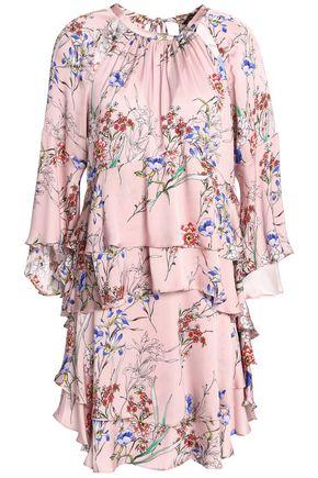 MARISSA WEBB Cutout ruffled printed silk-blend satin mini dress