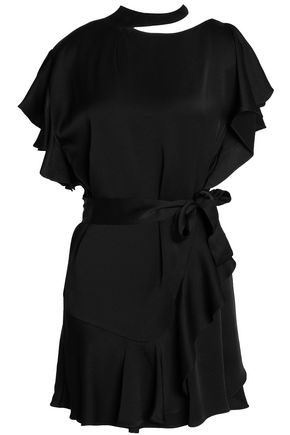 MARISSA WEBB Asymmetric cutout ruffled satin-crepe mini dress