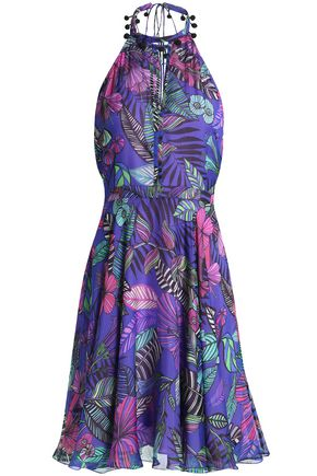 MATTHEW WILLIAMSON Cutout printed silk halterneck dress