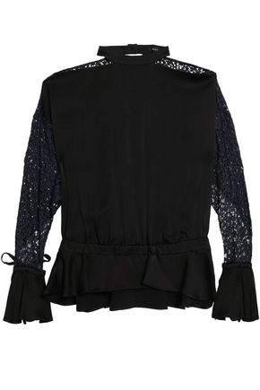 MARISSA WEBB Ruffled corded lace and satin-crepe blouse