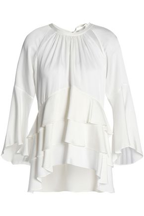 MARISSA WEBB Tiered cutout satin-crepe blouse