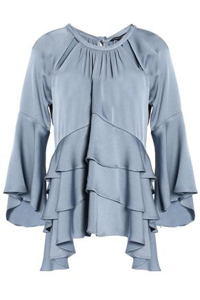 MARISSA WEBB Cutout tiered satin-crepe blouse