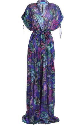 MATTHEW WILLIAMSON Floral-print silk-chiffon wide-leg jumpsuit