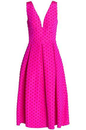 LELA ROSE Pleated flocked silk-faille midi dress