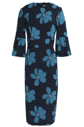 LELA ROSE Floral-print cotton-blend dress