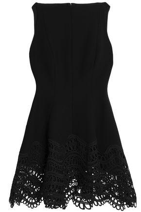 LELA ROSE Asymmetric guipure lace-paneled wool-blend crepe top