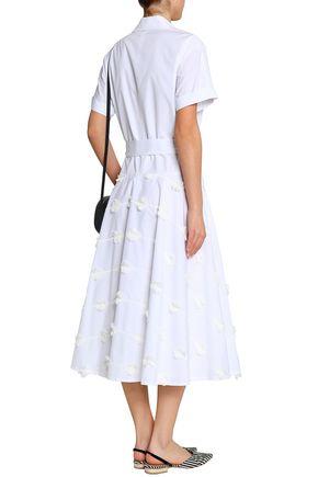 LELA ROSE Embroidered cotton-poplin midi shirt dress