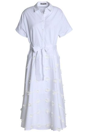 LELA ROSE Embroidered cotton-poplin midi shirt dress