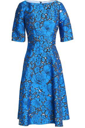 LELA ROSE Flared floral-jacquard dress