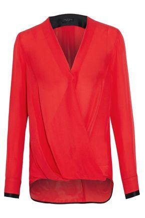 RAG & BONE Draped wrap-effect silk blouse