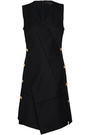PROENZA SCHOULER Wrap-effect button-embellished matelassé cotton and wool-blend dress