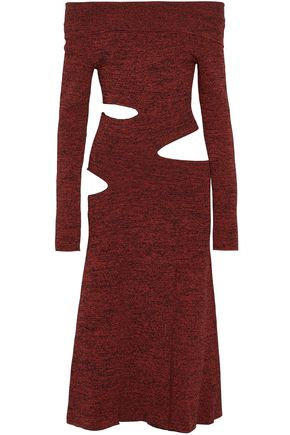 PROENZA SCHOULER Off-the-shoulder cutout marled stretch-knit midi dress