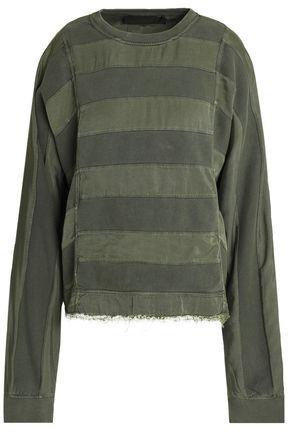 HAIDER ACKERMANN Paneled twill and cotton-jersey sweatshirt