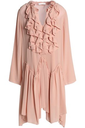 CHLOÉ Asymmetric ruffled silk crepe de chine dress