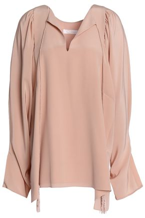 CHLOÉ Tasseled ruffled silk-crepe de chine top