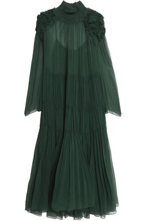 CHLOÉ Ruffled smocked silk-georgette dress