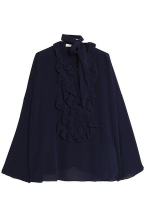CHLOÉ Pussy-bow ruffled silk crepe de chine blouse