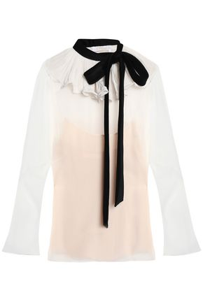 CHLOÉ Ruffled silk-crepe de chine top
