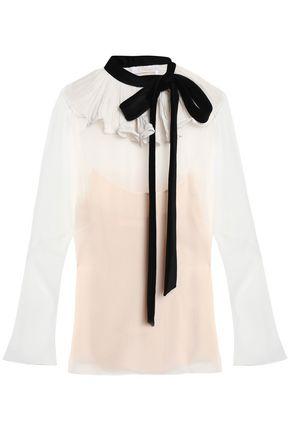 CHLOÉ Two-tone velvet-trimmed silk-chiffon blouse