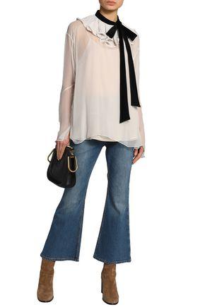 CHLOÉ Velvet-trimmed ruffled silk-chiffon blouse