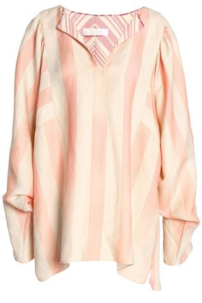 CHLOÉ Striped linen and silk-blend tunic