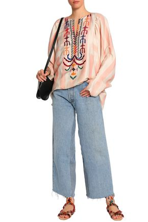 CHLOÉ Embroidered striped linen and silk-blend tunic