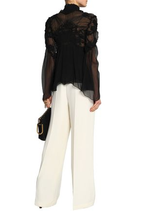CHLOÉ Ruffle-trimmed gathered silk-gauze blouse
