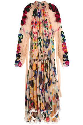 CHLOÉ Ruffled printed crinkled silk-georgette maxi dress