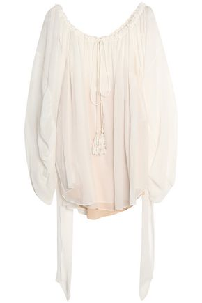 CHLOÉ Tasseled silk-georgette blouse