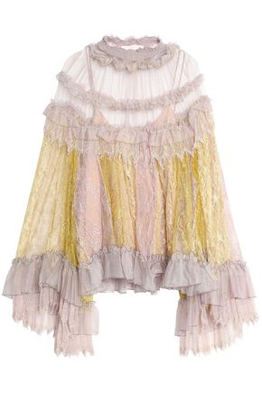 CHLOÉ Ruffle-trimmed color-block tulle and lace blouse