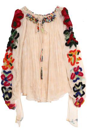 CHLOÉ Appliquéd silk-georgette tunic