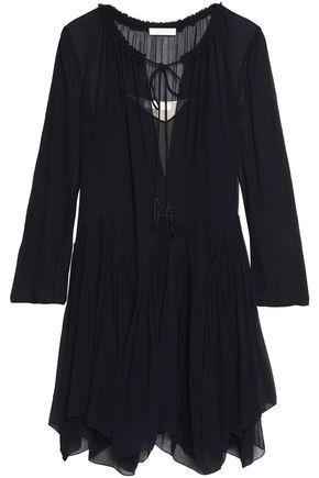 CHLOÉ Asymmetric gathered silk-georgette dress