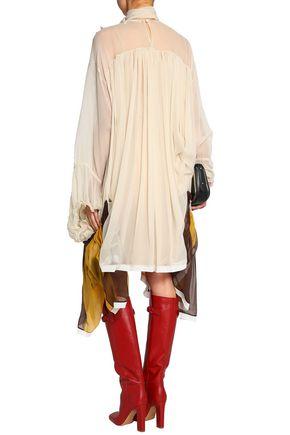 CHLOÉ Appliquéd silk-georgette dress