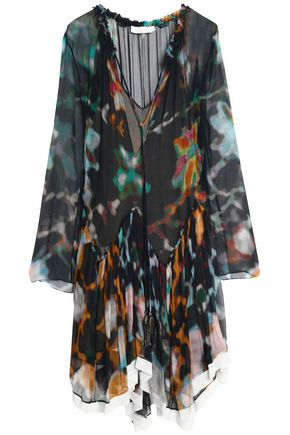 CHLOÉ Gathered printed silk-georgette dress