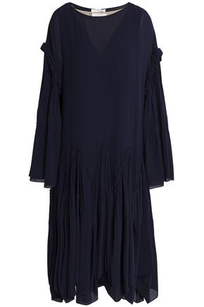 CHLOÉ Asymmetric gathered silk crepe de chine midi dress