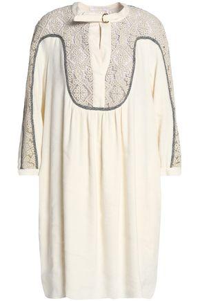 CHLOÉ Guipure lace-paneled linen and silk-blend dress